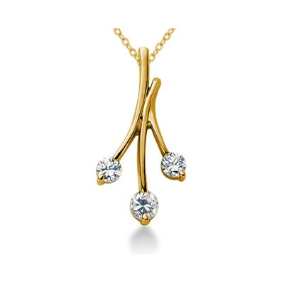 0.65CTW Diamond Three Stone Leaf Pendant in 14k Yellow Gold