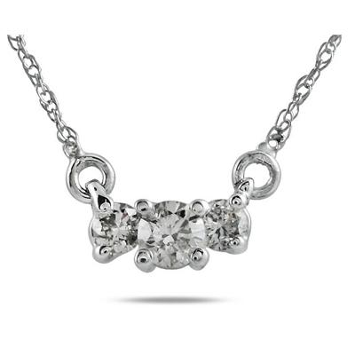 1/2 CT Diamond Three Stone Pendant Necklace 14K White Gold