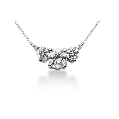 0.55CTW Classic Round Diamond Three Stone Necklace in 18k White Gold