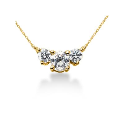 0.55CTW Classic Round Diamond Three Stone Necklace in 18k Yellow Gold