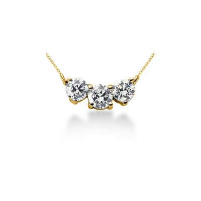 1.00CTW Classic Round Diamond Three Stone Necklace in 18k Yellow Gold