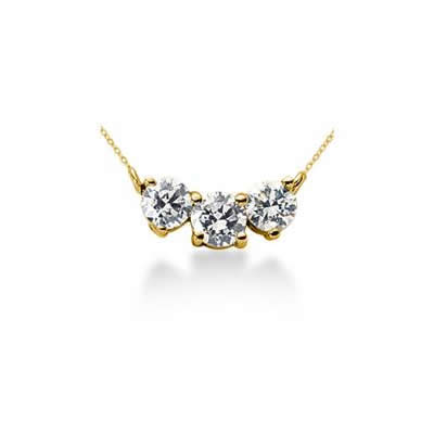 1.20CTW Classic Round Diamond Three Stone Necklace in 14k Yellow Gold