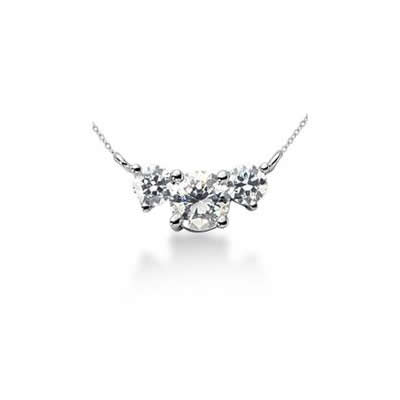 0.50CTW Diamond Three Stone Pendant in Platinum