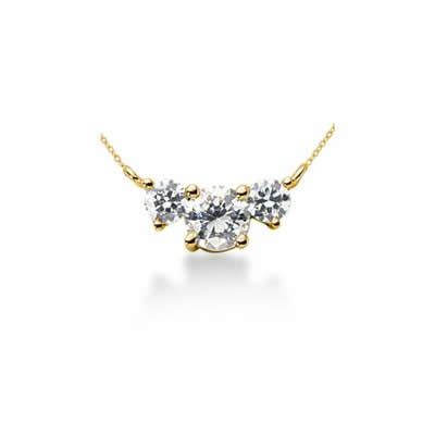 0.50CTW Diamond Three Stone Pendant in 14k Yellow Gold