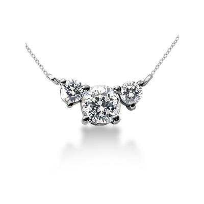 0.40CTW Diamond Three Stone Pendant in Platinum