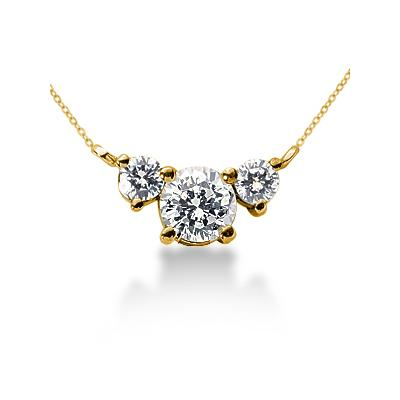 0.40CTW Diamond Three Stone Pendant in 18k Yellow Gold
