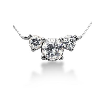 0.60CTW Diamond Three Stone Pendant in 18k White Gold