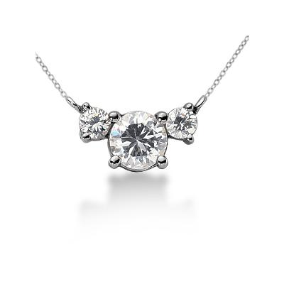0.40CTW Diamond Three Stone Pendant in 14k White Gold