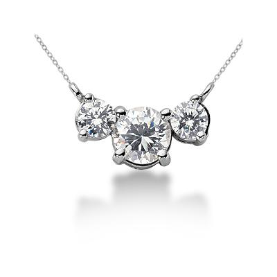 0.70CTW Diamond Three Stone Pendant in 18k White Gold
