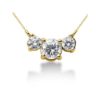 0.70CTW Diamond Three Stone Pendant in 14k Yellow Gold