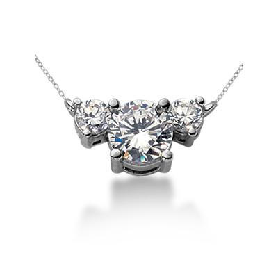 1.00CTW Diamond Three Stone Pendant in 18k White Gold