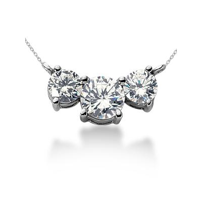 CTW Diamond Three Stone Pendant in Palladium