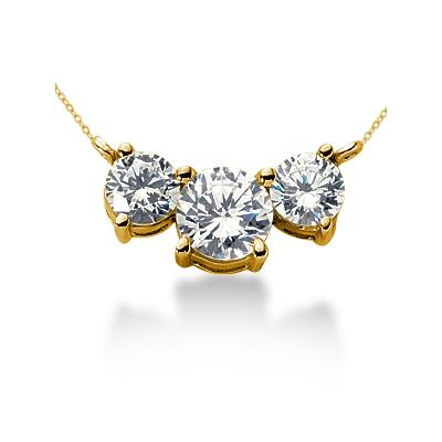 CTW Diamond Three Stone Pendant in 14k Yellow Gold