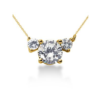 0.40CTW Diamond Three Stone Pendant in 14k Yellow Gold