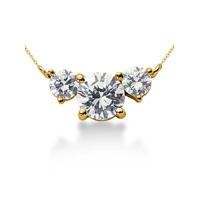1.00CTW Diamond Three Stone Pendant in 14k Yellow Gold
