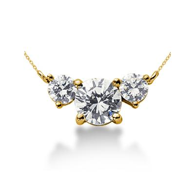 CTW Diamond Three Stone Pendant in 18k Yellow Gold