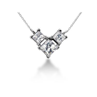 0.64CTW Classic Princess Diamond Three Stone Necklace in 18k White Gold