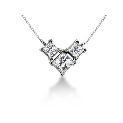 0.80CTW Classic Princess Diamond Three Stone Necklace in 18k White Gold
