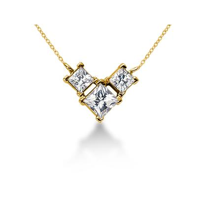 0.80CTW Classic Princess Diamond Three Stone Necklace in 18k Yellow Gold