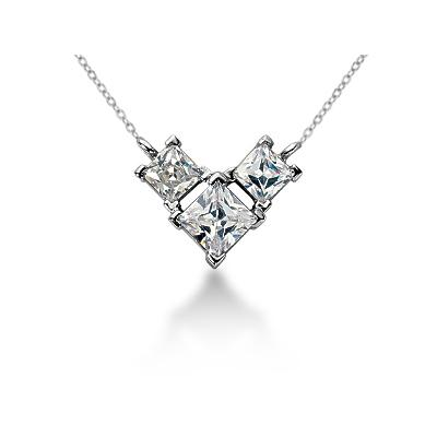 1.04CTW Classic Princess Diamond Three Stone Necklace in Platinum