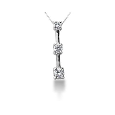 0.25CTW Classic Four Prong Three Stone Diamond Pendant in 18k White Gold