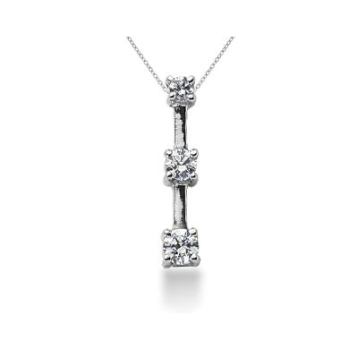 0.30CTW Classic Four Prong Three Stone Diamond Pendant in 18k White Gold