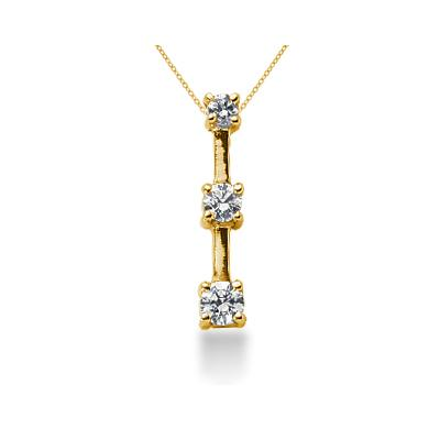 0.30CTW Classic Four Prong Three Stone Diamond Pendant in 14k Yellow Gold