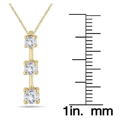 1/2 Carat Three Stone Diamond Pendant in 10k Yellow Gold