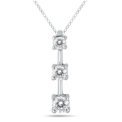 1/2 Carat Three Stone Diamond Pendant in 10k White Gold
