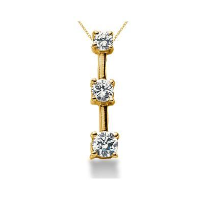 0.70CTW Classic Four Prong Three Stone Diamond Pendant in 18k Yellow Gold