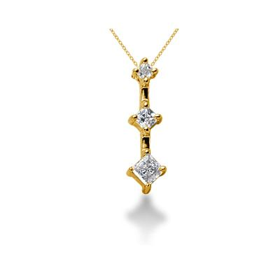 0.32CTW Classic Princess Diamond Three Stone Pendant in 14k Yellow Gold