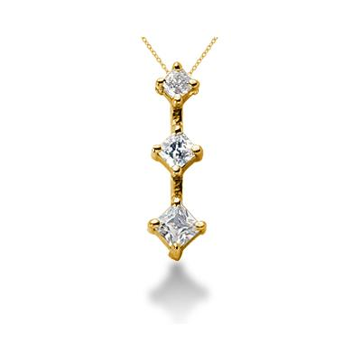0.54CTW Classic Princess Diamond Three Stone Pendant in 18k Yellow Gold