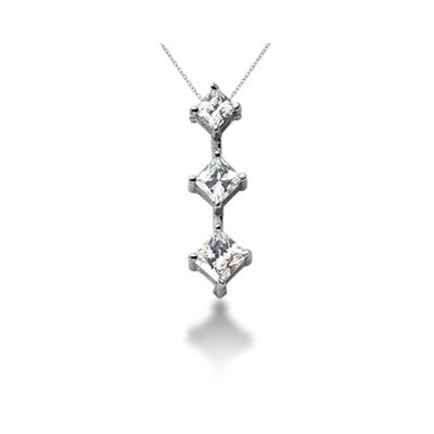 0.94CTW Classic Princess Diamond Three Stone Pendant in 18k White Gold