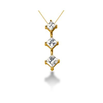 0.94CTW Classic Princess Diamond Three Stone Pendant in 18k Yellow Gold