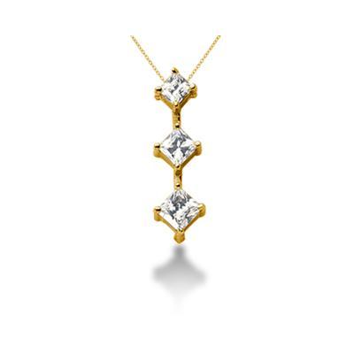 0.94CTW Classic Princess Diamond Three Stone Pendant in 18k Yellow Gold