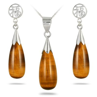 All Natural Genuine Cats Eye Tear Drop Pendant and Earring Set in .925 Sterling Silver