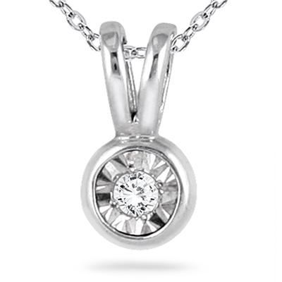 Diamond Solitaire Bezel Set Pendant and Earrings in .925 Sterling Silver
