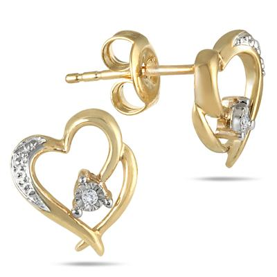 Diamond Double Heart Pendant and Earring Set in 18K Gold Plated Sterling Silver