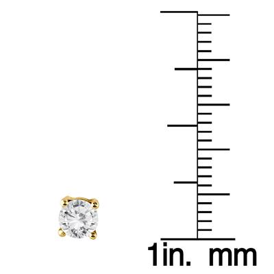 1.00 Carat Diamond Solitaire Pendant and Earring Matching Set in 10K Yellow Gold