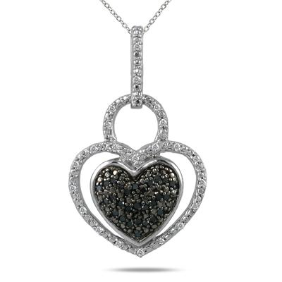 1/4 Ct. Genuine Black & White Diamond Double Heart Pendant in Sterling Silver