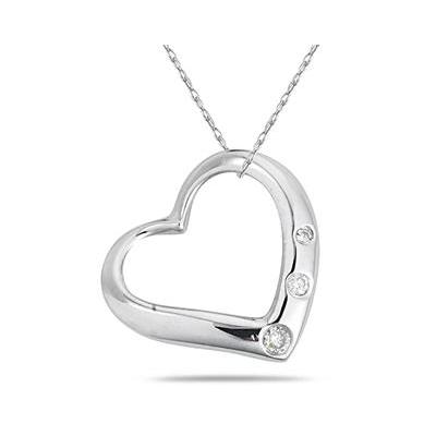 Three Stone Diamond Heart Slide Pendant in .925 Sterling Silver