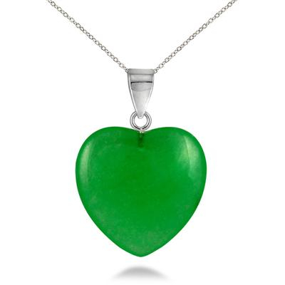 All Natural Green Jade Heart Pendant in .925 Sterling Silver
