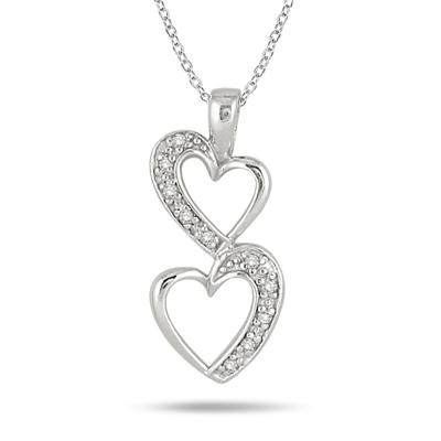 1/10 Carat T.W Diamond Double Heart Pendant in .925 Sterling Silver