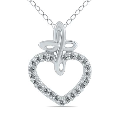 1/10 Carat in total White Diamond Pendant in 10K White Gold