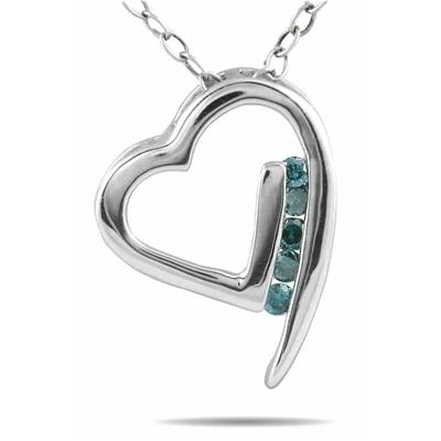 1/10 Carat Blue Diamond Heart Pendant in 10K White Gold