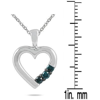 Three Stone Blue Diamond Heart Pendant in 10K White Gold