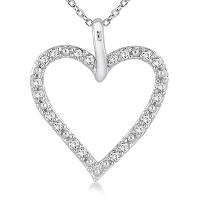 1/4 Carat Diamond Heart Pendant in 10K White Gold