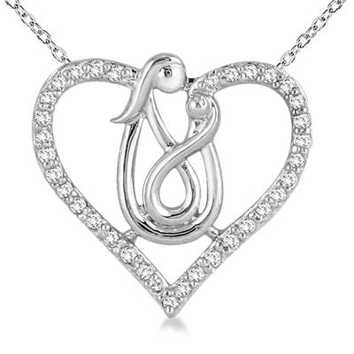 1/4 Carat Mother and Baby Diamond Heart Pendant 10K White Gold