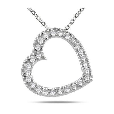 1/4 Carat Diamond Slide Heart Pendant in 14K White Gold