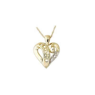 Diamond LOVE Engraved Heart Pendant